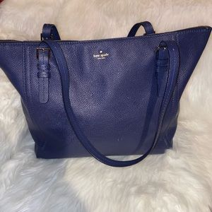 kate spade Bags - EUC Large Leather Kate Spade Tote Navy Gold